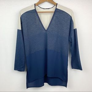 Zara Blue and Creme High/Low shimmer Blouse